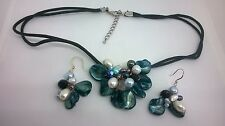 Costume Jewellery Stunning Blue Mother Of Pearl Cluster Necklace & Earrings