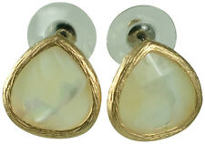 MOTHER OF PEARL/SEMI PRECIOUS PIERCED STUD EARRINGS-GOLD PLATE