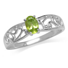 Natural Peridot 925 Sterling Silver Filigree Solitaire Ring