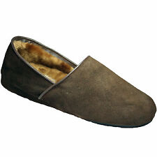 MENS DAVID BROWN REAL SUEDE WARM SLIPPERS WINTER COMFORT FAUX FUR LINED GD