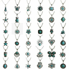 Vintage Tibetan Silver Turquoise Bib Crystal Pendant Long Necklace Fashion Women