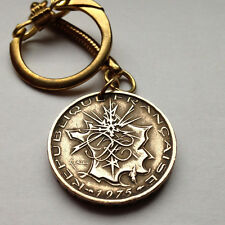 France 10 francs coin pendant charm KEYCHAIN jewelry French map Paris n000133