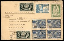 Brazil to Germany US Zone 1950 Registered Airmail cover