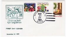 Santa Claus Indiana 1980 Christmas Seals FDC Unsealed Unaddressed VF