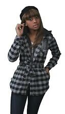 Insound Womens Black Flannel Tunic Shirt Hoodie Build in Ear buds Headphones NWT