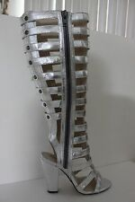 Michael Antonio Womens Silver Kimiko-Met Gladiator Sandals Shoe Boot Size 7 / 8
