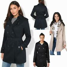 Womens Classic Tailored Double Breasted Trench Mac Coat Ladies Rain Jacket