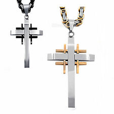 Mens Womens Silver Gold Black Cross Pendant With Stainless Steel Chain Necklace