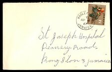 April 1957 Jamaica flowers issue on cover to Kingston Jamaica