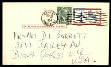 Canal Zone to US New York 1964 Uprated Postal Stationery Card