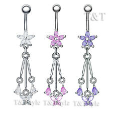 TT CZ Flower Butterfly Dangle Belly Bar Ring body Piecing (BL22)