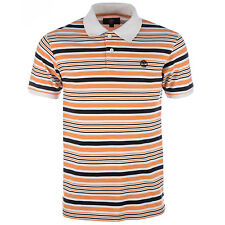 Mens Timberland Earthkeepers Stripe Polo Shirt Peach-Short Sleeve -Ribbed Collar