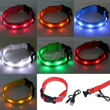 USB Rechargeable Waterproof LED Flashing Glow Light Pet Dog Cat Safety Collar