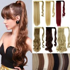 Long Ponytail Clip In Hair Extension Wrap Pony Tail Fake Hairpiece human made LA
