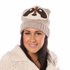 Ladies Knitted Novelty Character Animal Face Fashion Beanie ski Warm Winter Hat