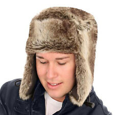 New Mens Ladies Unisex Quality Faux Fur Trapper & Toggle Warm Winter Thermal Hat