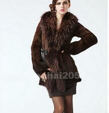 100% Real Genuine Knit Mink Fur Coat with Raccoon Collar Coat Outwear Jacket -