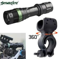 New CREE XML T6 LED Zoomable Flashlight Torch Lamp Bike Bicycle 360° Mount Clip