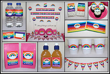 * GIRLS & BOYS RAINBOW PERSONALISED Birthday Party Decorations Supplies *