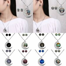 Handmade Owl Skull Silver Chain Time Gem Pendant Necklace Jewelry Set Gift