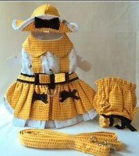 Busy Bee Harness Dog Dress 4 Pc Set with Hat, Panties, & Leash size XS