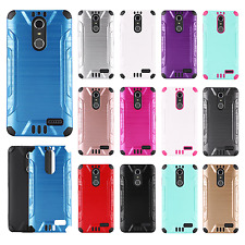 Cricket ZTE Grand X4 Combat Brushed Metal HYBRID Rubber Hard Case Phone Cover
