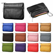 Women Genuine Leather Card Coin Cash ID Key Money Zip Pouch Bag Purse Wallet