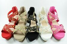 Women Fashion Sandals Open Toe Comfortable Wedge Sexy Sequin Back Zip Style
