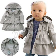 Girls Kids Trench Coat Wind Jackets Hooded Clothes Outwear Autumn Winter Outwear