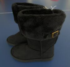 NEW Girl YOUTH *1**2**3* OLD NAVY Black Fur Lined Buckle Boots Faux Suede NWT!