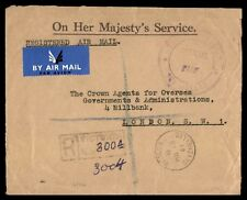 Seychelles to London 1961 Registered airmail Cover Official Stampless