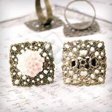 5/10pcs Antique Brass Ring Mountings Setting Square/Flower/Flat Round DIY Craft