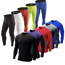 Men's Compression Fitness Shirt Under Base Layer Long Pants Skin Tights Trousers