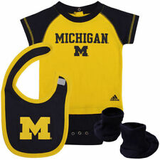 Michigan Wolverines adidas Infant Lil Tee Creeper, Bootie & Bib Set - NCAA