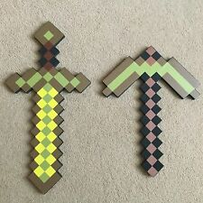 MINECRAFT style Mosiac Large Gold Golden Sword Pickaxe Set EVA Foam UK Free P&P