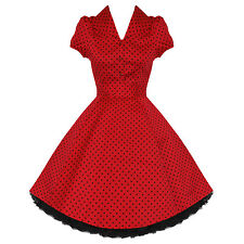 Ladies New Red Polka Dot Vtg 50s Retro Pinup Rockabilly Party Prom Swing Dress U