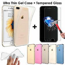 Ultra Thin Transparent Clear Gel Case Cover + Tempered Glass For Apple iPhone 7