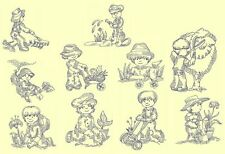 Gardening Kids Redwork Machine Embroidery CD-20 Designs-by Anemone Embroidery