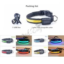 USB Solar Rechargeable Flashing Light Up Safety LED Dog Cat Pet Collar Sz S-L