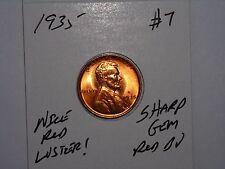 wheat penny 1935 LINCOLN CENT GEM RED BU 1935-P GREAT UNC RED LUSTER LOT #7