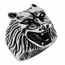 Wolf Head 316 Stainless Steel Mens Casting Ring SZ 9-13