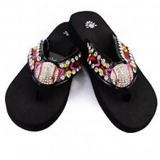 Isabella Baseball Concho Multi Color Flip Flops Sandals Rhinestone S082 Mom Fan