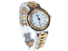Auth HERMES CLIPPER White Dial Date Stainless Steel Quartz Ladies Watch HW0342L