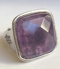 Silver Plated Amethyst Cocktail Ring Semi Precious Purple Natural Stone Chunky
