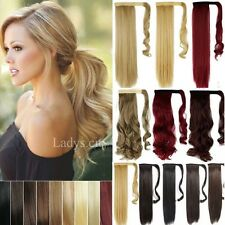 UK Lady Wrap Around Pony Tail Clip In Hair Extension Ponytail Long Remy Hair M3r