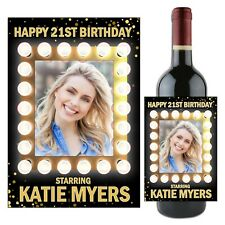 Personalised Happy Birthday Light Frame Sparkle Wine Champagne Bottle Label N107
