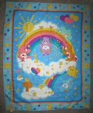 "Large Rainbow Trail Care Bear Crib Blanket {NOT QUILTED} 35"" x 44"" - Vintage"
