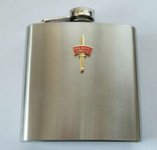 45 COMMANDO ROYAL MARINES DAGGER AND PATCH HIP FLASK - GOLD OR SILVER BADGE