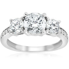 1 1/2ct Diamond Three Stone Engagement Ring Solid 14K White Gold