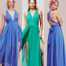 Bridesmaid Formal Wedding Ruched Chiffon Evening Prom Gown Prom Party Maxi Dress
